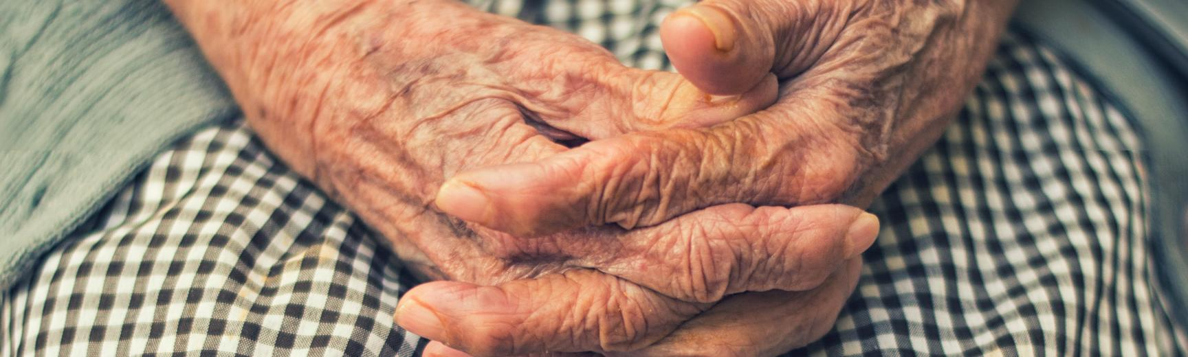 Focus on an older woman's hands