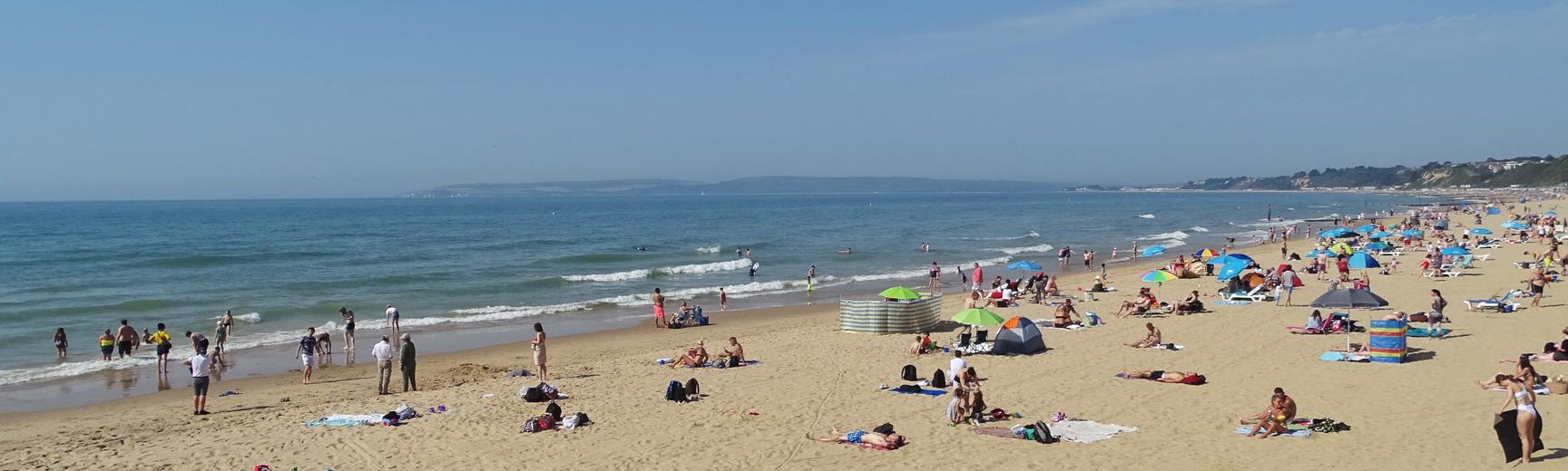 Bournemouth beach on a busy summer's day