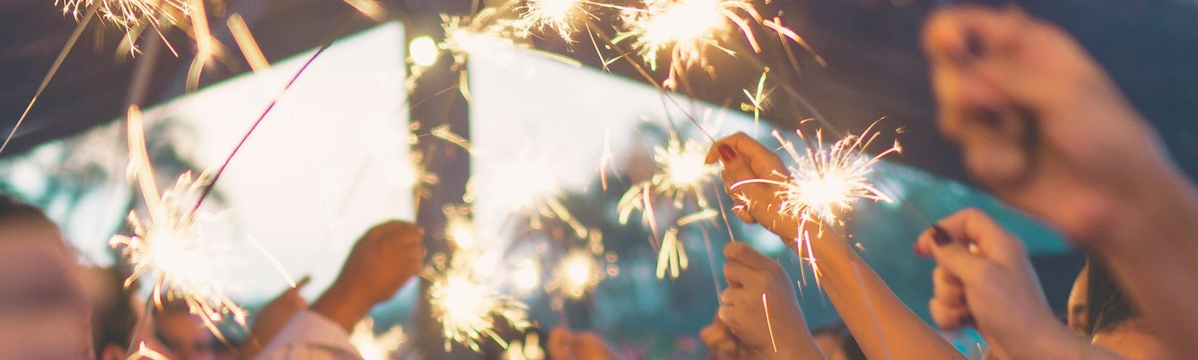 Sparklers in the air