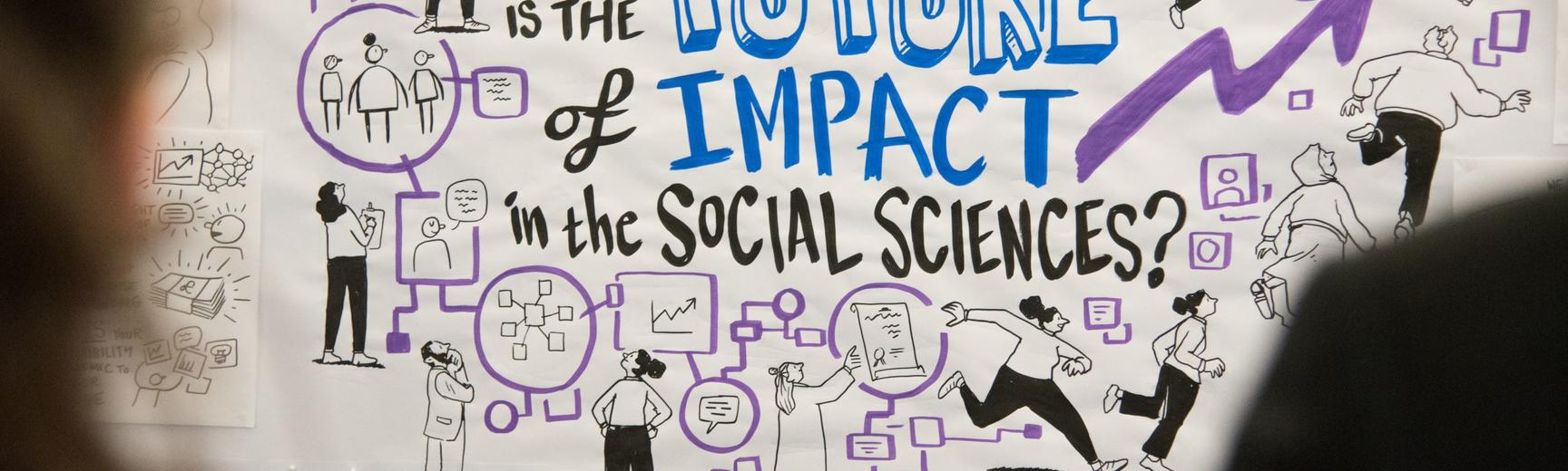 """A cartoon illustration of two-dimensional characters carrying out impact activities, with text saying """"What is the future of impact in the social sciences?"""""""