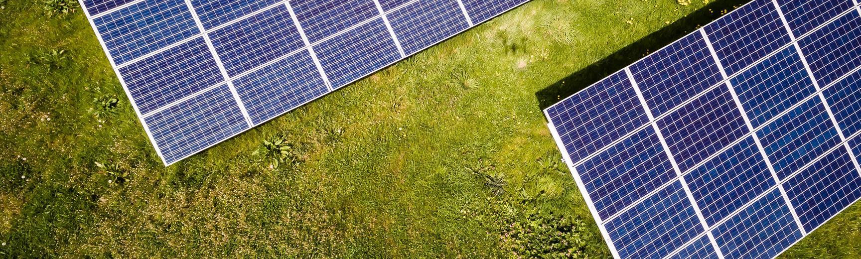 Solar panels on a lawn