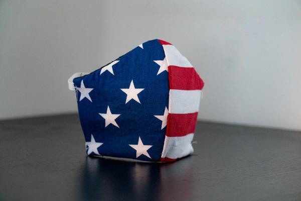 A facemask made from the American flag, showing the stars and stripes