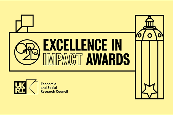 Yellow banner with the title Excellence in Impact Awards