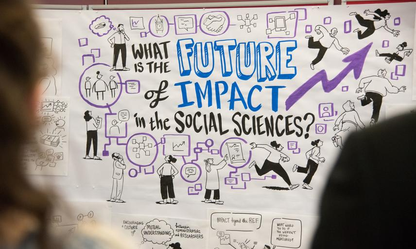 "A cartoon illustration of two-dimensional characters carrying out impact activities, with text saying ""What is the future of impact in the social sciences?"""