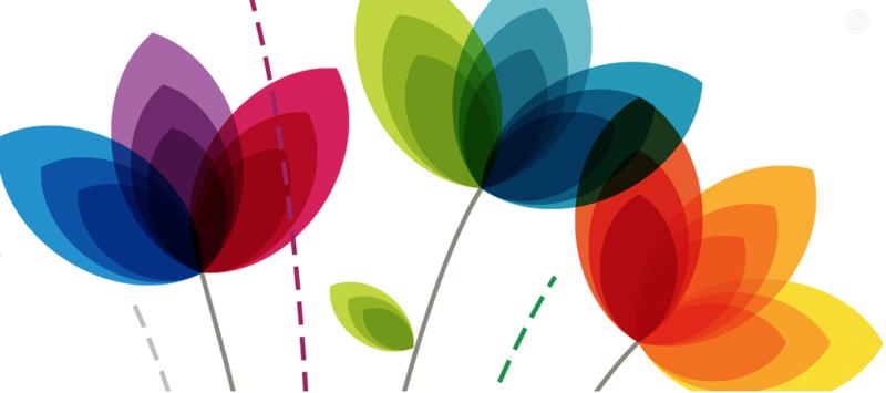 Colourful illustration of stylised flowers