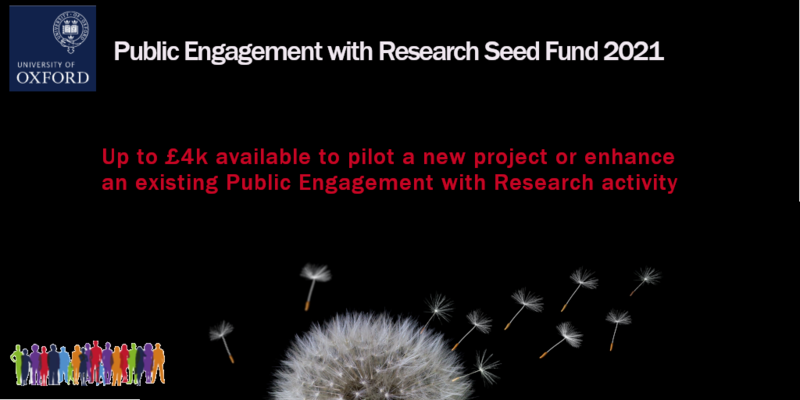Image of a dandelion head on a black background with seeds blowing away, with text - Public Engagement with Research Seed Fund 2021 – Up to £4k available to pilot a new project of enhance an existing Public Engagement with Research activity