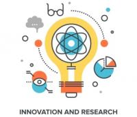 research and innovation lightbulb small graphic